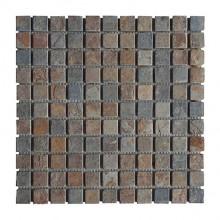Naturstein - Mosaikfliesen - multicolor dunkel 2,3 x 2,3 cm