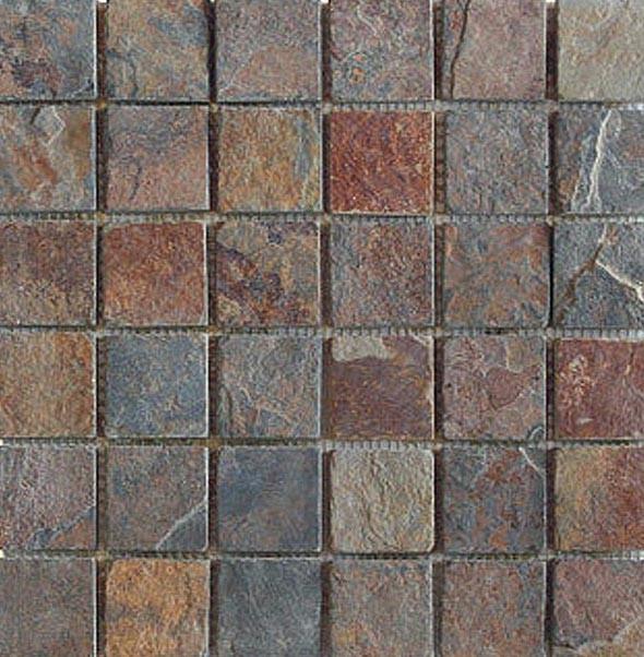 Super Naturstein - Mosaikfliesen - multicolor dunkel 4,5 x 4,5 cm XJ62